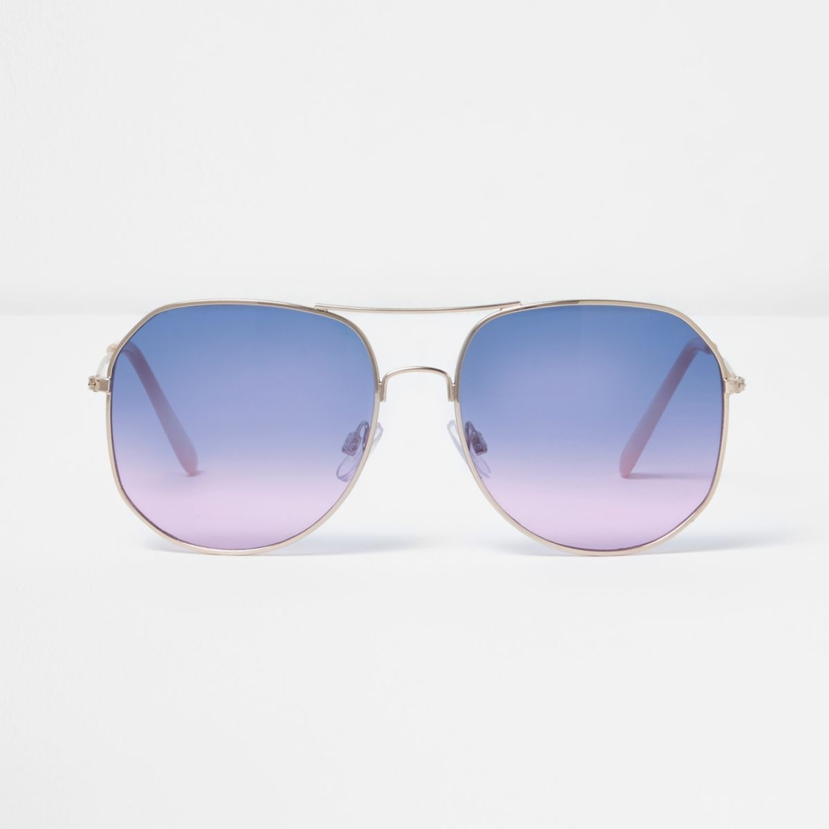 Gold tone ocean lens aviator sunglasses