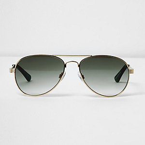 Gold tone khaki lens aviator sunglasses