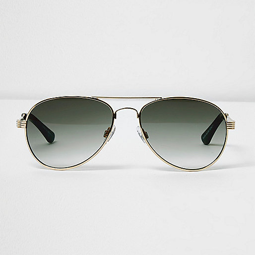 Gold tone khaki lens aviator sunglasses