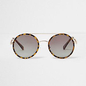 Braune, runde Sonnenbrille aus Schildpatt