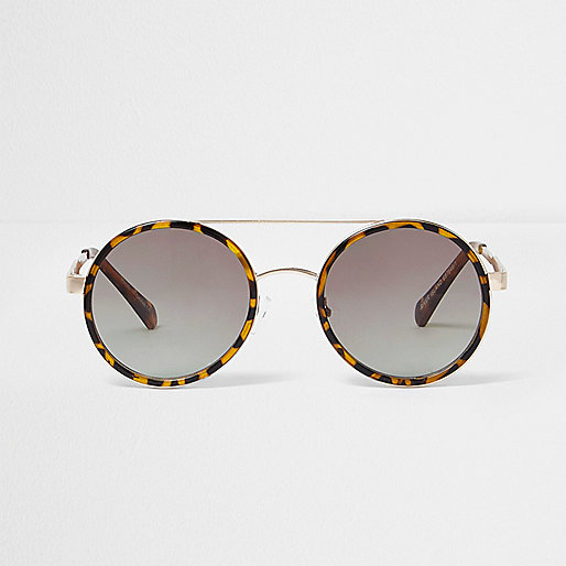Brown tortoiseshell round sunglasses