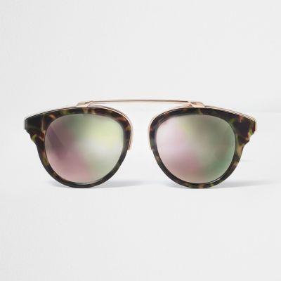 Bruine zonnebril met camouflageprint en roze glazen thumbnail