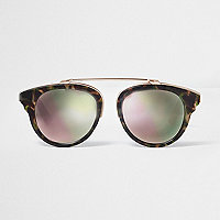Brown camo print pink mirror sunglasses
