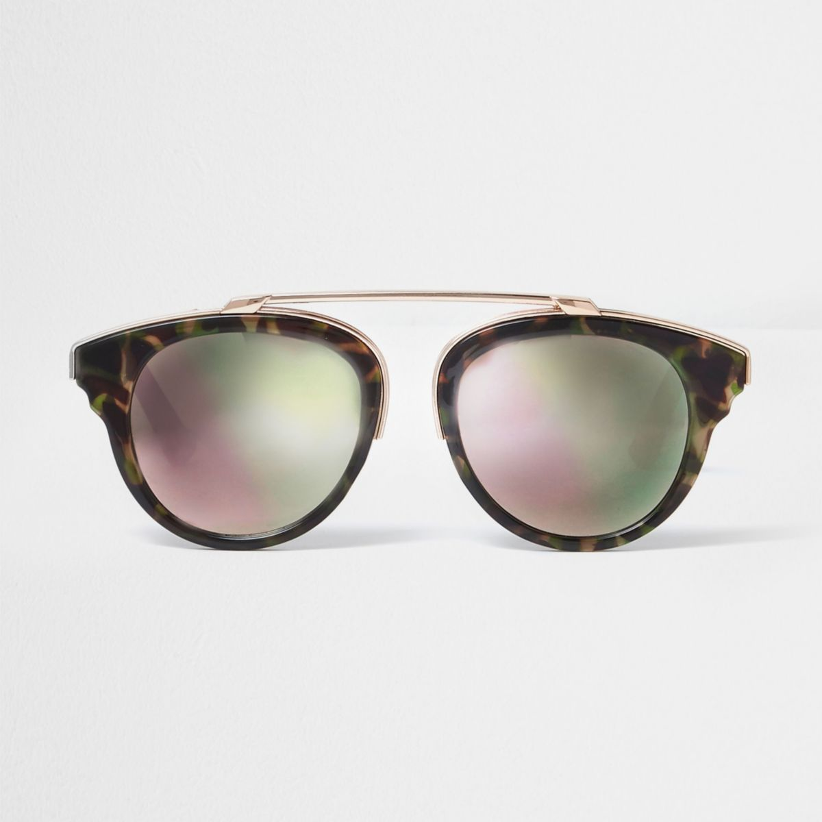 Brown camo print pink mirror sunglasses