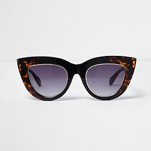 Schwarze Cateye-Sonnenbrille aus Schildpatt