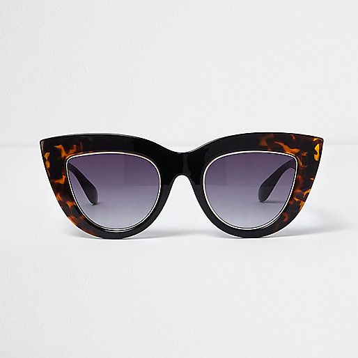 Black tortoiseshell smoke cat eye sunglasses