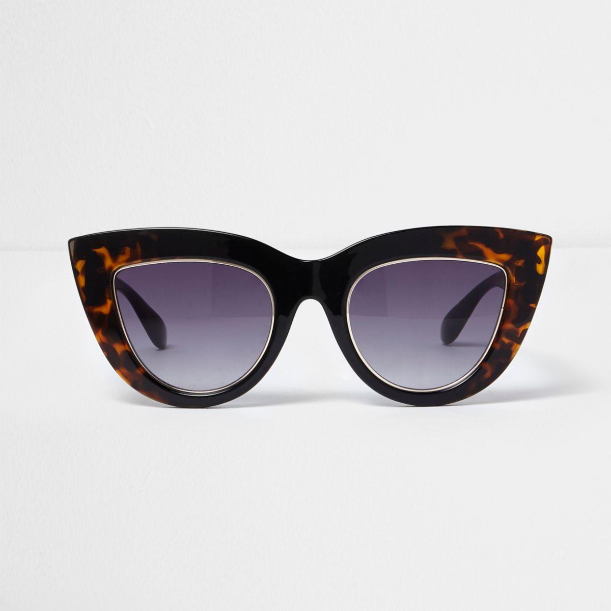 Black tortoiseshell smoke cat eye sunglasses