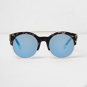 Lunettes de soleil écaille de tortue noires à verres bleus