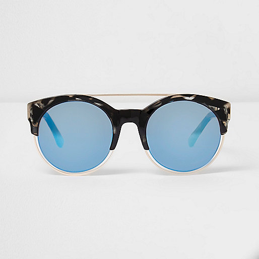 Black tortoiseshell blue lens sunglasses