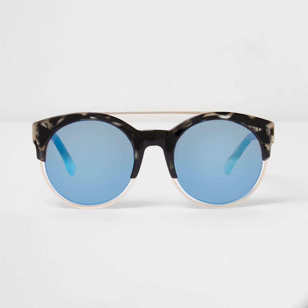 Black tortoiseshell blue lens sunglasses