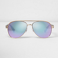 Gold tone lilac lens aviator sunglasses