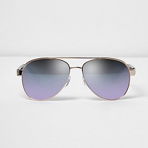 Gold tone blue lens aviator sunglasses