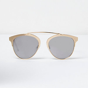 Gold brow bar mirrored sunglasses