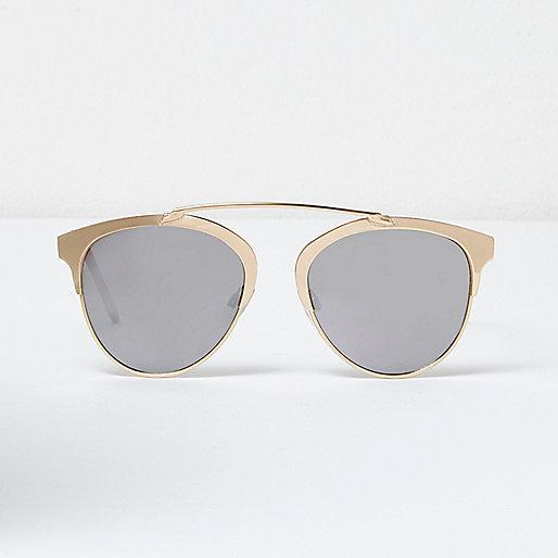 Gold brow bar mirrored sunglasses
