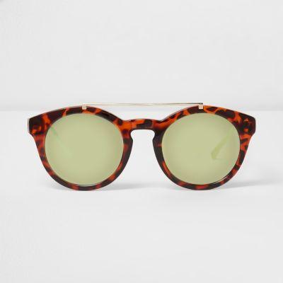 Bruine ronde zonnebril met wenkbrauwbalk en schildpadmotief thumbnail