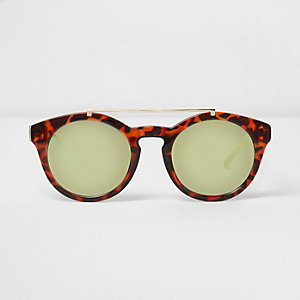 Brown tortioseshell round brow bar sunglasses