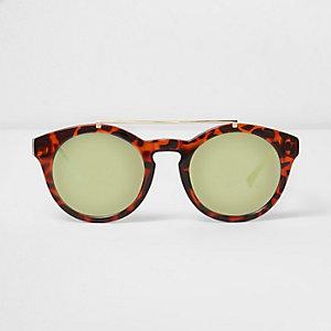 Bruine ronde zonnebril met wenkbrauwbalk en schildpadmotief