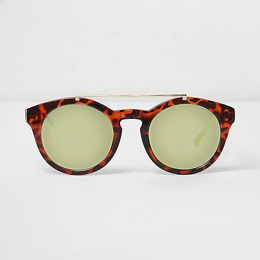 Brown tortioseshell round brow bar sunglasses
