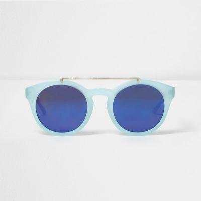 Lichtblauwe zonnebril met wenkbrauwbalk en ronde glazen thumbnail