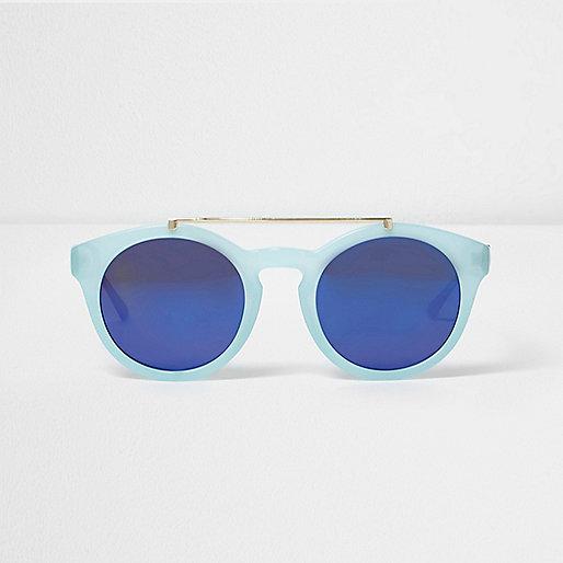 Light blue round flat brow bar sunglasses