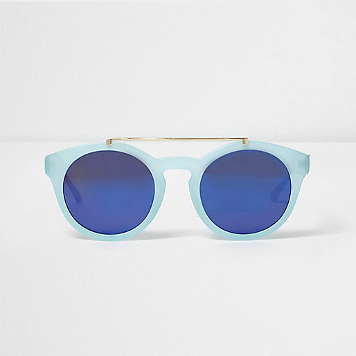 Light blue round flat brow bar sunglasses