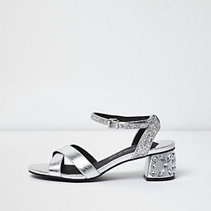 Silver metallic jewel block heel sandals