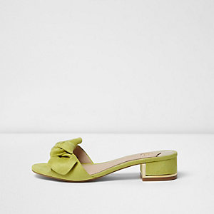 Light green bow block heel mules