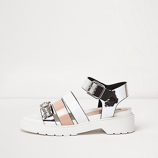 White chunky multi strap sandals
