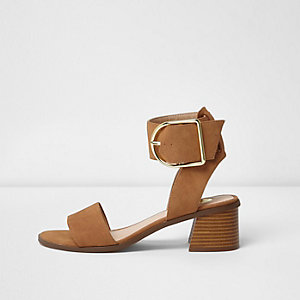 Brown oversized buckle leather sandals