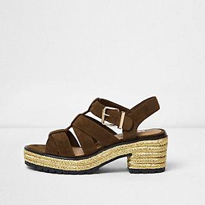 Khaki strappy espadrille block heel sandals