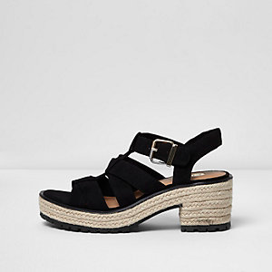 Black strappy espadrille block heel sandals