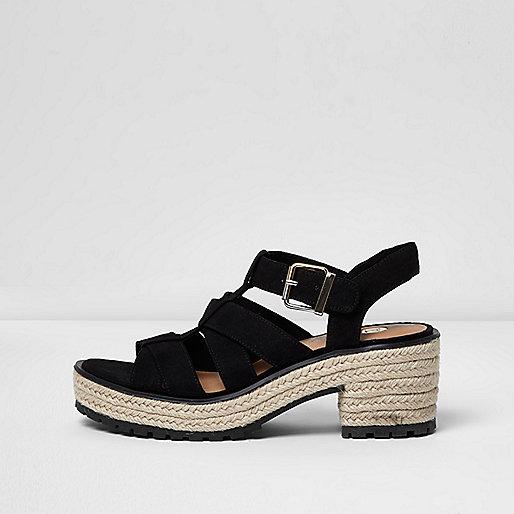 Black strappy espadrille block heel sandals
