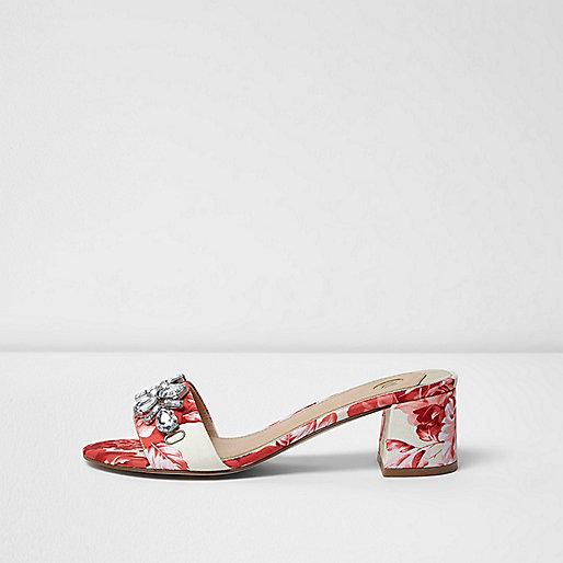 Red floral print jewel embellished mules