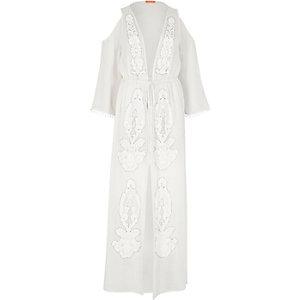 White sheer embellished maxi caftan
