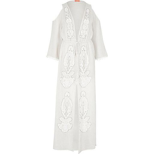 White sheer embellished maxi kaftan