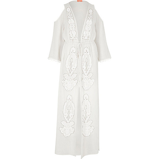 White sheer embellished maxi caftan