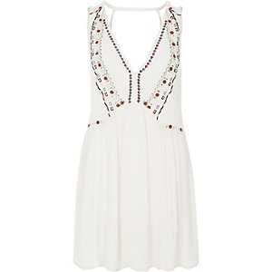Cream V neck embroidered beach dress
