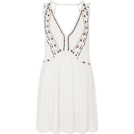 Cream V neck embroidered beach dress