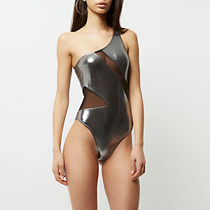 Silver metallic mesh one shoulder swimsuit