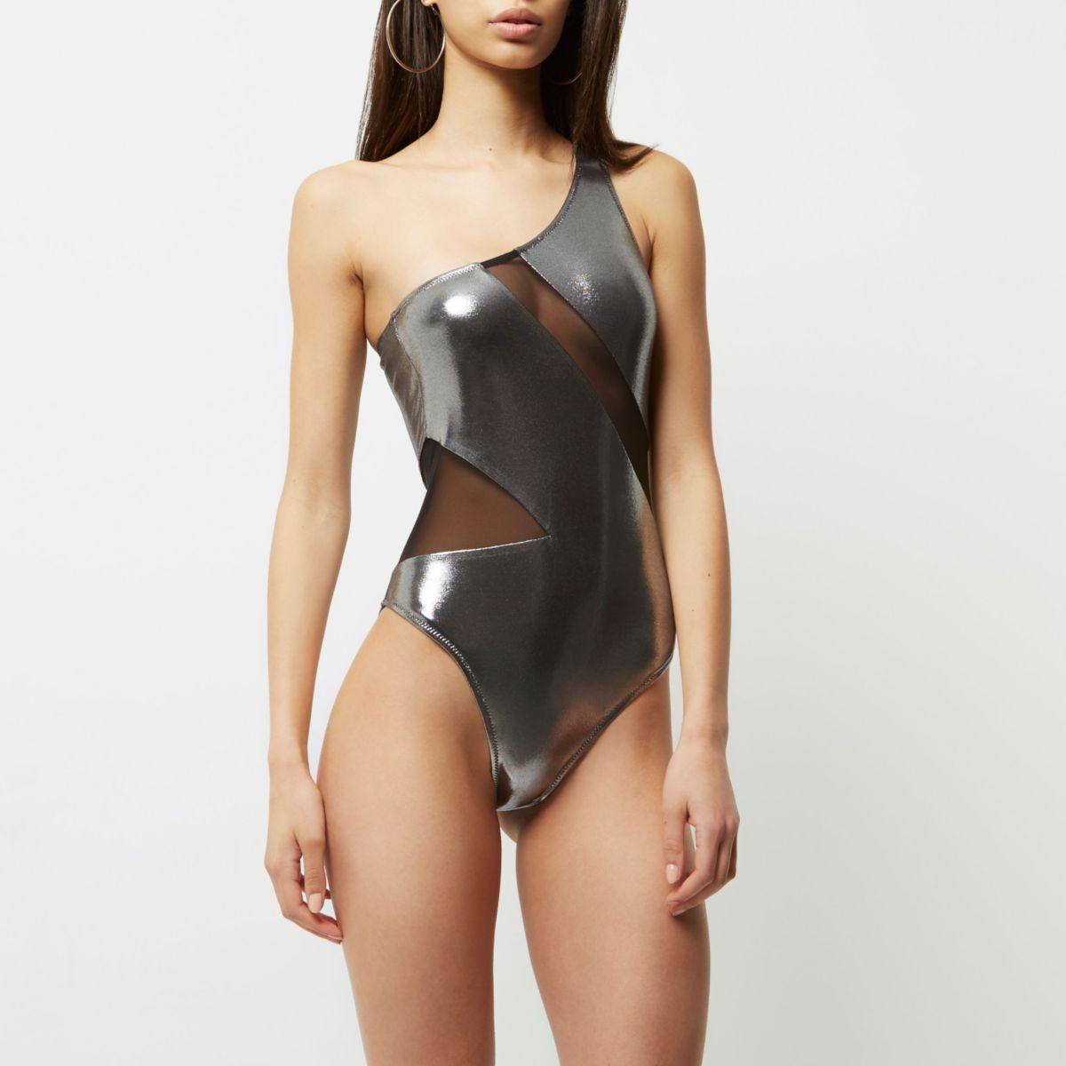 Silver metallic mesh one shoulder swimsuit