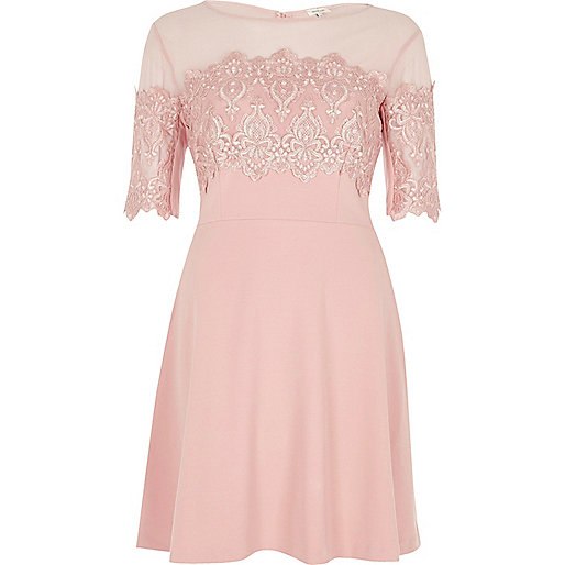 Light pink lace panel skater dress