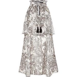 Grey floral print layered shift dress