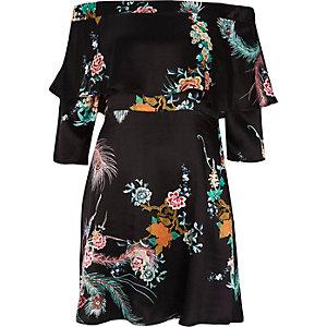 Black oriental print deep frill bardot dress