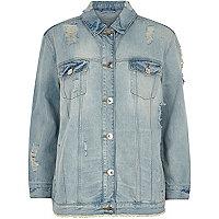 Veste oversize en jean bleu clair usée