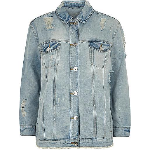 Light blue distressed oversized denim jacket