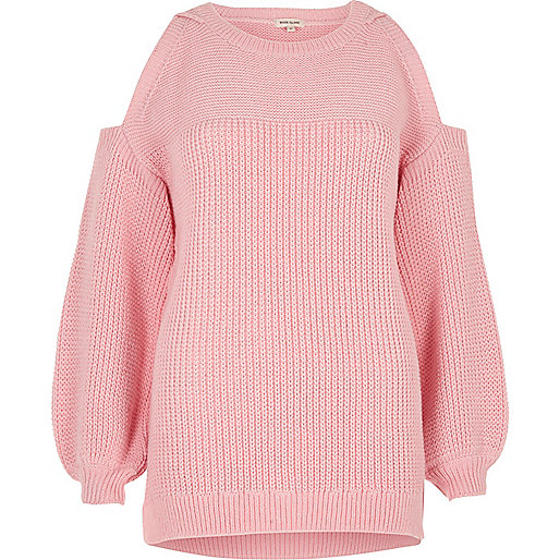 Pink cold shoulder jumper