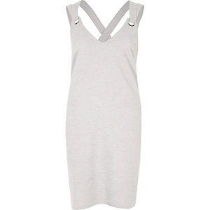 Light grey marl metal ring cami dress