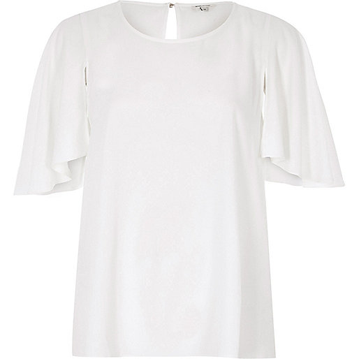 White cape sleeve top