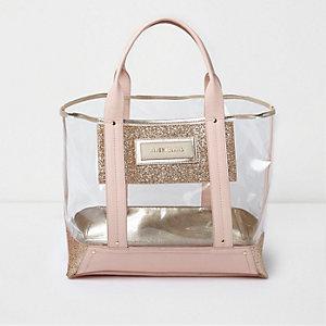 Roze perspex strandhandtas met glitterdetail