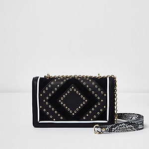 Black stud and eyelet mini cross body bag
